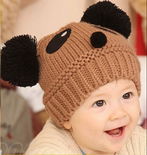 Brown Panda style Beanie Hat for Children